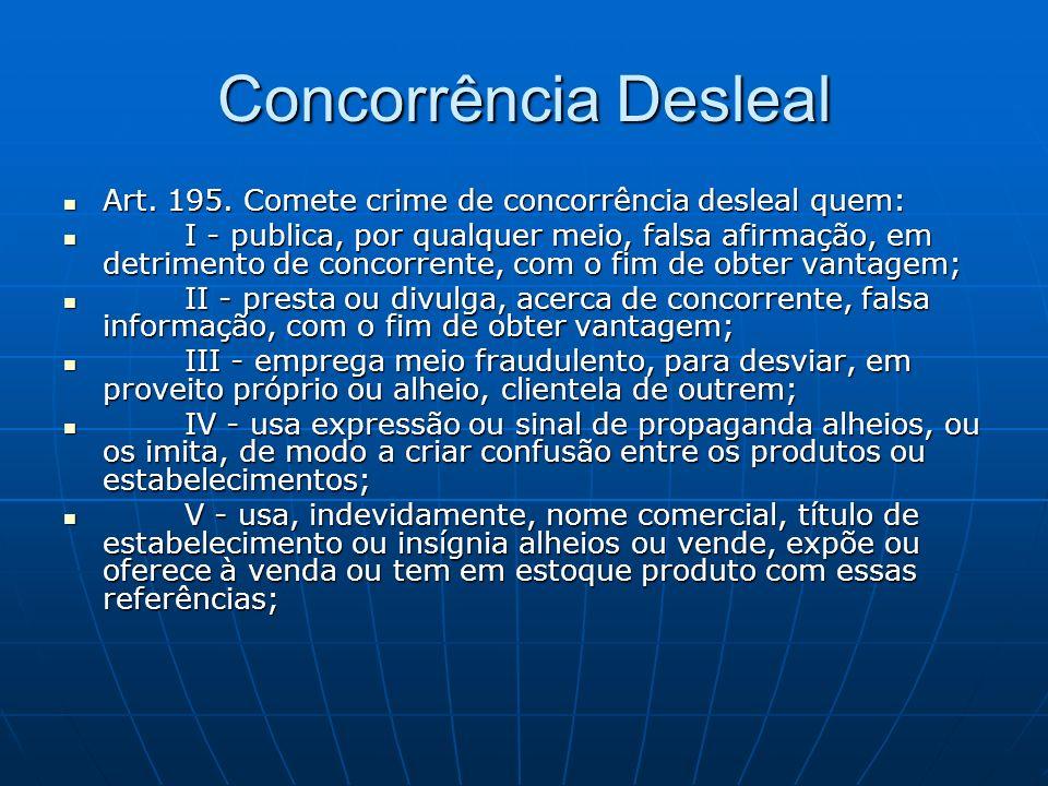 Concorrência Desleal Art. 195. Comete crime de concorrência desleal quem: Art. 195. Comete crime de concorrência desleal quem: I - publica, por qualqu