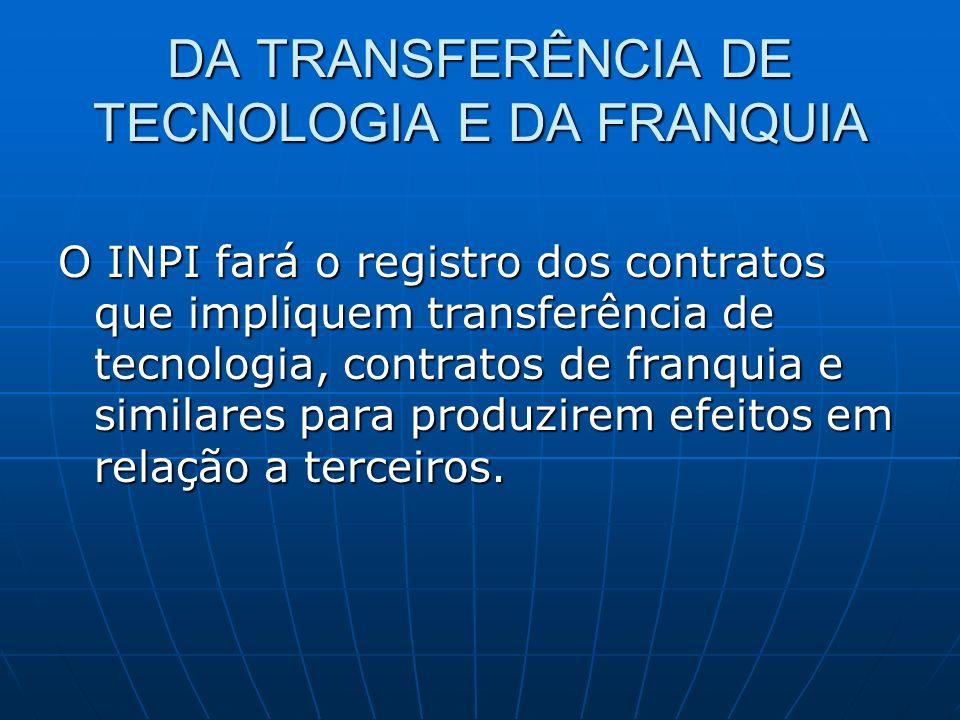 DA TRANSFERÊNCIA DE TECNOLOGIA E DA FRANQUIA O INPI fará o registro dos contratos que impliquem transferência de tecnologia, contratos de franquia e s