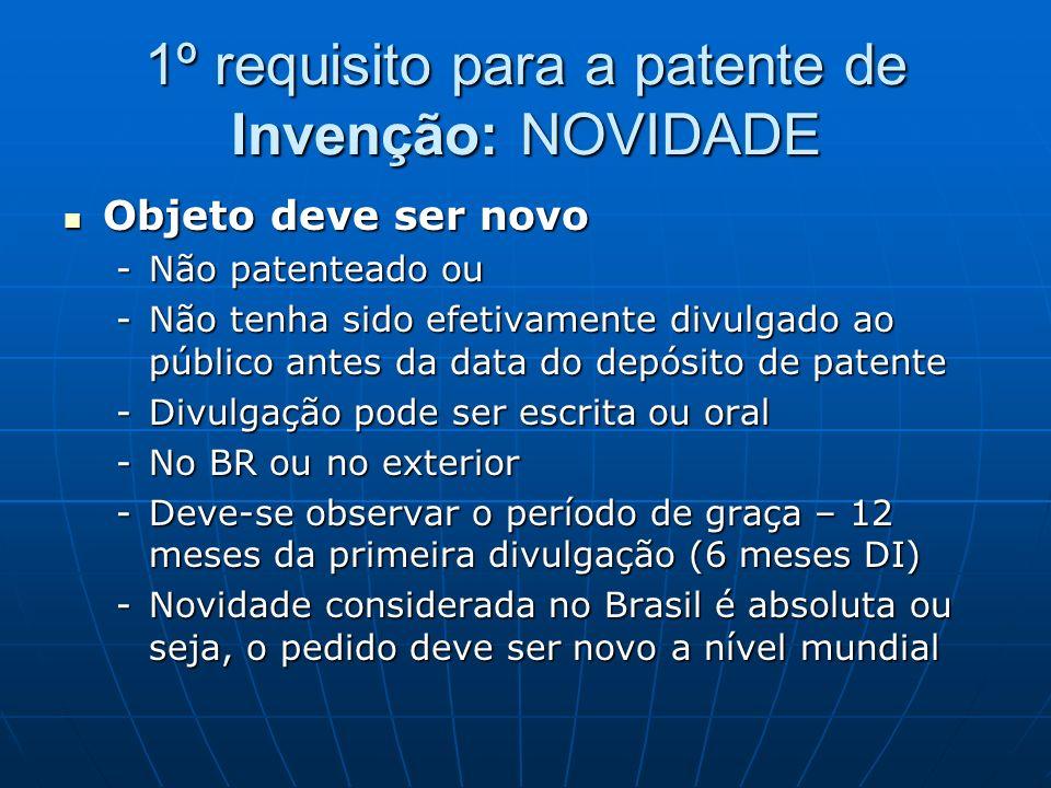 1º requisito para a patente de Invenção: NOVIDADE Objeto deve ser novo Objeto deve ser novo -Não patenteado ou -Não tenha sido efetivamente divulgado