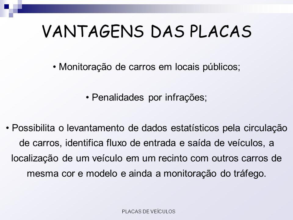 VANTAGENS DAS PLACAS Monitoração de carros em locais públicos; Penalidades por infrações; Possibilita o levantamento de dados estatísticos pela circul