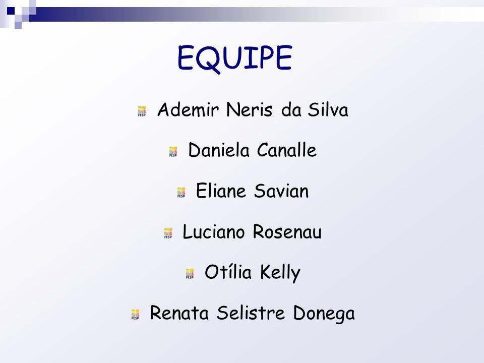 EQUIPE Ademir Neris da Silva Daniela Canalle Eliane Savian Luciano Rosenau Otília Kelly Renata Selistre Donega