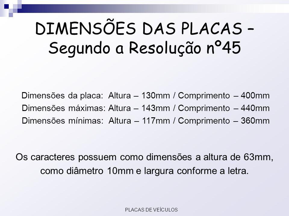 DIMENSÕES DAS PLACAS – Segundo a Resolução nº45 Dimensões da placa: Altura – 130mm / Comprimento – 400mm Dimensões máximas: Altura – 143mm / Comprimen