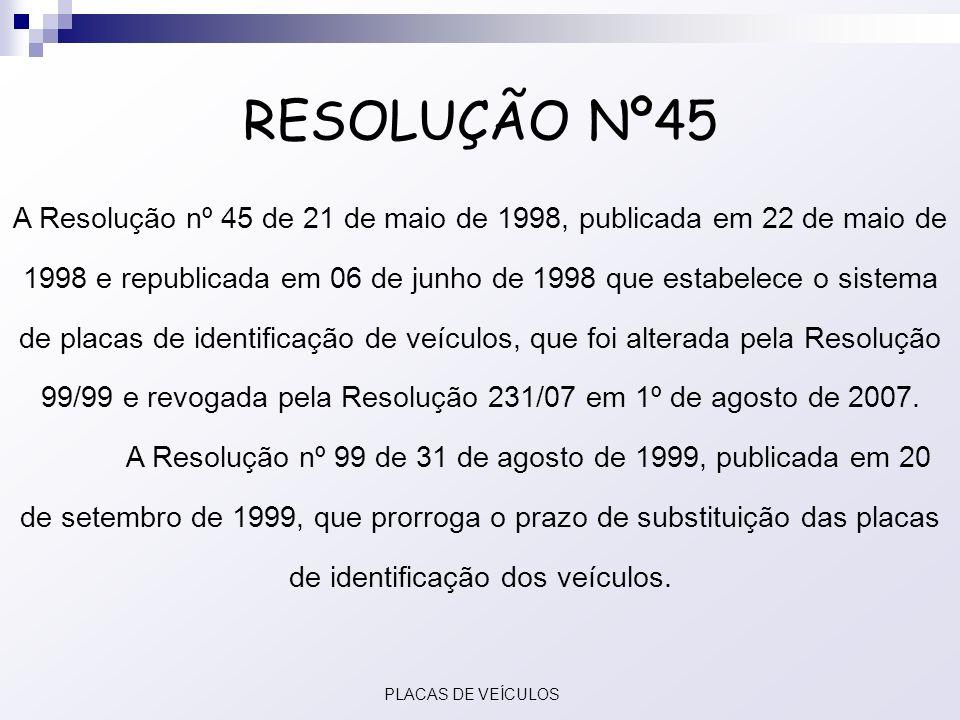 RESOLUÇÃO Nº45 A Resolução nº 45 de 21 de maio de 1998, publicada em 22 de maio de 1998 e republicada em 06 de junho de 1998 que estabelece o sistema