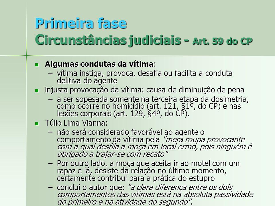 Primeira fase C ircunstâncias judiciais - Art. 59 do CP Algumas condutas da vítima: Algumas condutas da vítima: –vítima instiga, provoca, desafia ou f