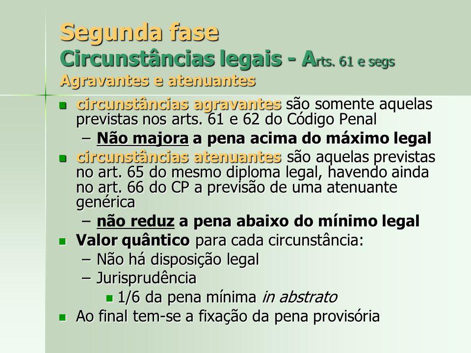 Segunda fase Circunstâncias legais - A rts. 61 e segs Agravantes e atenuantes circunstâncias agravantes são somente aquelas previstas nos arts. 61 e 6