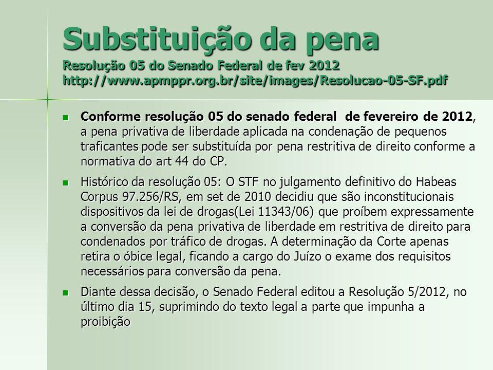 Substituição da pena Resolução 05 do Senado Federal de fev 2012 http://www.apmppr.org.br/site/images/Resolucao-05-SF.pdf Conforme resolução 05 do sena