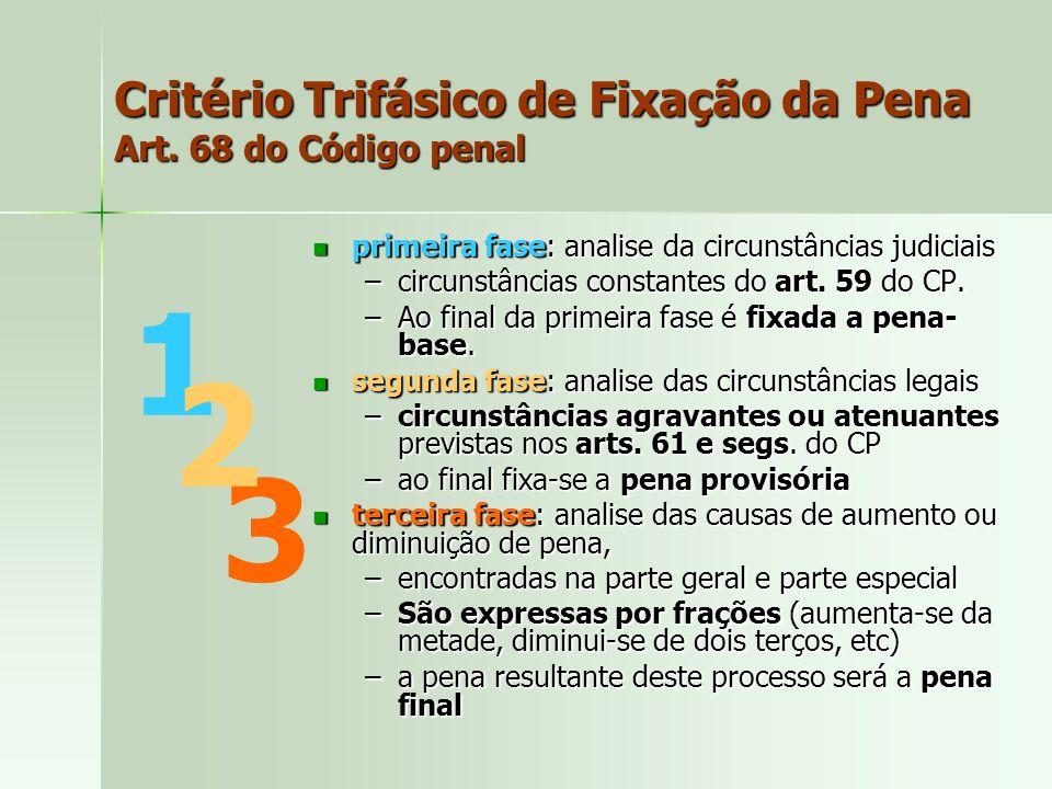 Critério Trifásico de Fixação da Pena Art. 68 do Código penal primeira fase: analise da circunstâncias judiciais primeira fase: analise da circunstânc