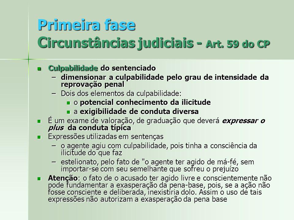 Primeira fase C ircunstâncias judiciais - Art. 59 do CP Culpabilidade do sentenciado Culpabilidade do sentenciado –dimensionar a culpabilidade pelo gr