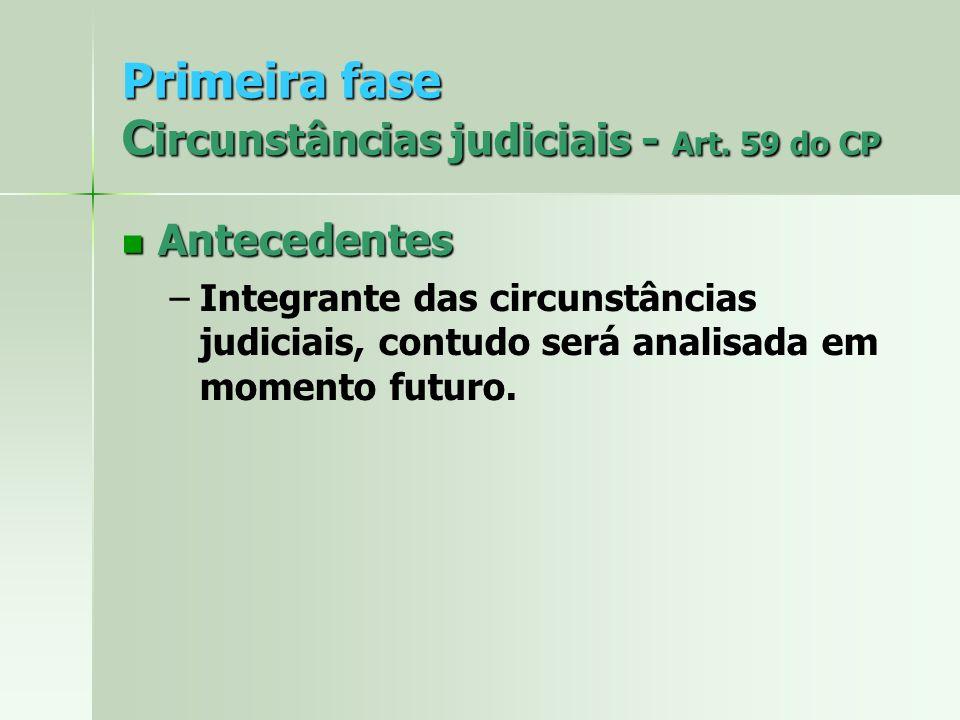 Primeira fase C ircunstâncias judiciais - Art. 59 do CP Antecedentes Antecedentes – –Integrante das circunstâncias judiciais, contudo será analisada e