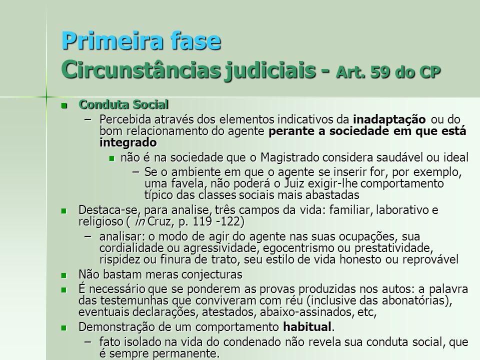 Primeira fase C ircunstâncias judiciais - Art. 59 do CP Conduta Social Conduta Social –Percebida através dos elementos indicativos da inadaptação ou d