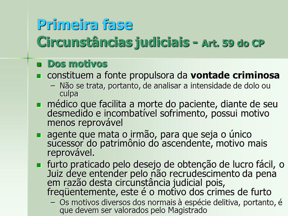 Primeira fase C ircunstâncias judiciais - Art. 59 do CP Dos motivos Dos motivos constituem a fonte propulsora da vontade criminosa constituem a fonte