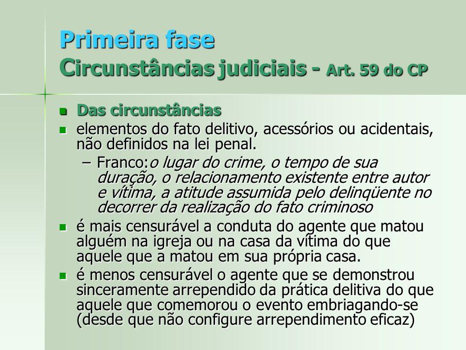 Primeira fase C ircunstâncias judiciais - Art. 59 do CP Das circunstâncias Das circunstâncias elementos do fato delitivo, acessórios ou acidentais, nã
