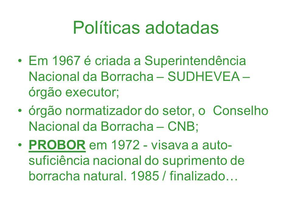 Políticas adotadas Em 1967 é criada a Superintendência Nacional da Borracha – SUDHEVEA – órgão executor; órgão normatizador do setor, o Conselho Nacio