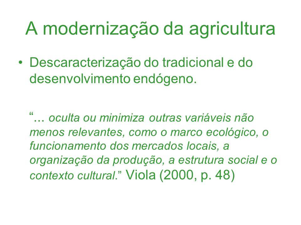 A modernização da agricultura Descaracterização do tradicional e do desenvolvimento endógeno.... oculta ou minimiza outras variáveis não menos relevan