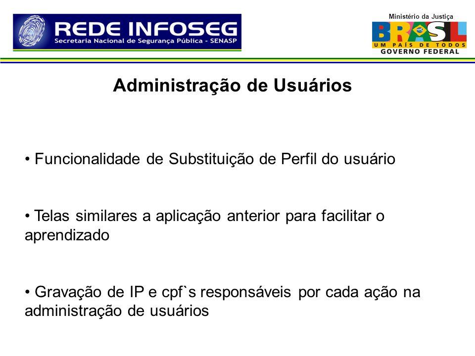 Ministério da Justiça Funcionalidade de Substituição de Perfil do usuário Telas similares a aplicação anterior para facilitar o aprendizado Gravação d