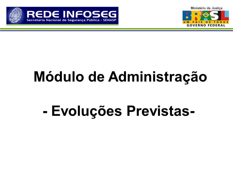 Ministério da Justiça Módulo de Administração - Evoluções Previstas-