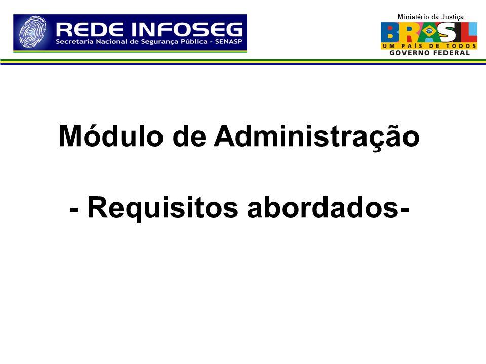 Ministério da Justiça Administração de Usuários Reestruturação de modelagem de banco de dados do módulo ADM Reestruturação da Arquitetura da aplicação e das Regras de negócio
