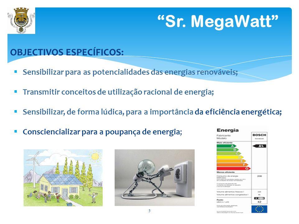 Sensibilizar para as potencialidades das energias renováveis; Transmitir conceitos de utilização racional de energia; Sensibilizar, de forma lúdica, para a importância da eficiência energética; Consciencializar para a poupança de energia; 3 Sr.