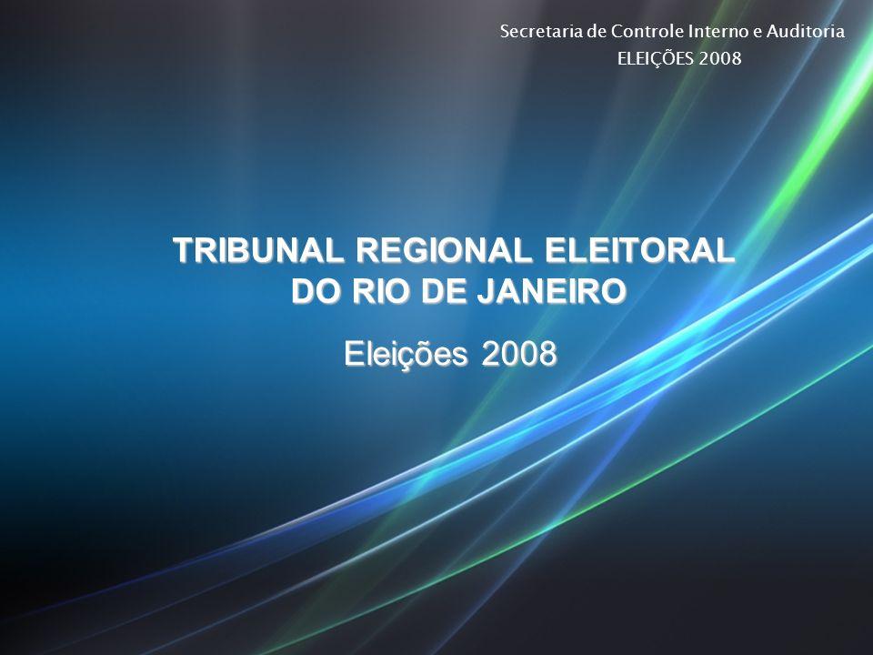 Secretaria de Controle Interno e Auditoria ELEIÇÕES 2008 TRIBUNAL REGIONAL ELEITORAL DO RIO DE JANEIRO Eleições 2008