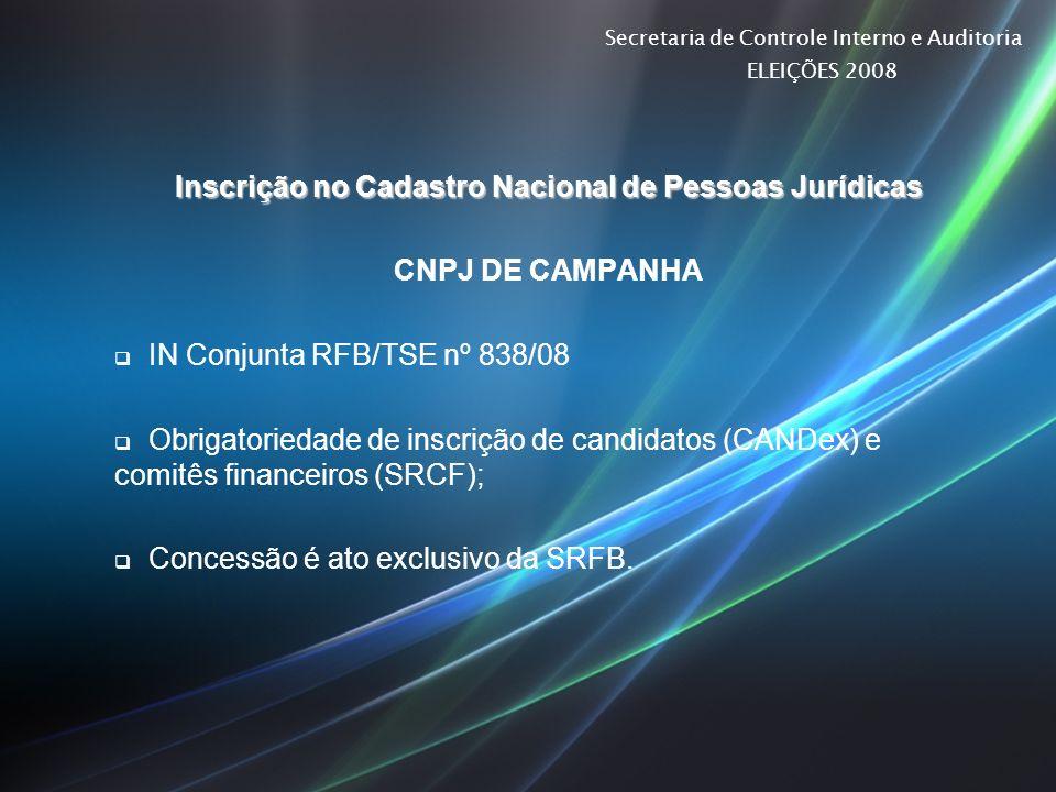 Secretaria de Controle Interno e Auditoria ELEIÇÕES 2008 Inscrição no Cadastro Nacional de Pessoas Jurídicas CNPJ DE CAMPANHA IN Conjunta RFB/TSE nº 8