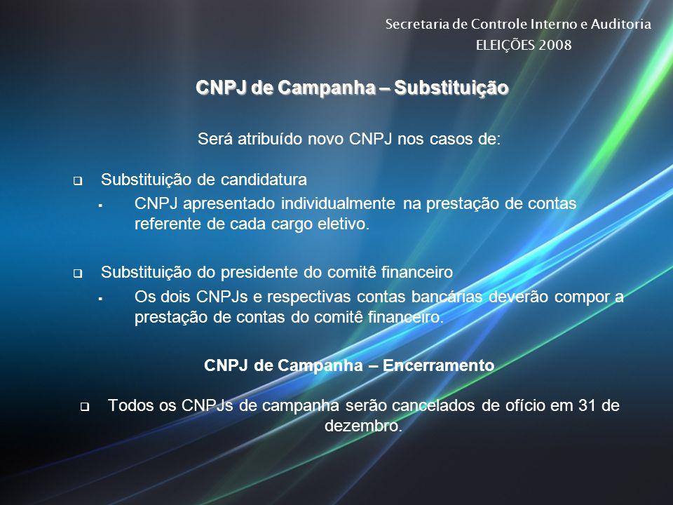 Secretaria de Controle Interno e Auditoria ELEIÇÕES 2008 CNPJ de Campanha – Substituição CNPJ de Campanha – Substituição Será atribuído novo CNPJ nos