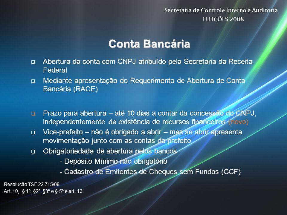 Secretaria de Controle Interno e Auditoria ELEIÇÕES 2008 Conta Bancária Abertura da conta com CNPJ atribuído pela Secretaria da Receita Federal Median