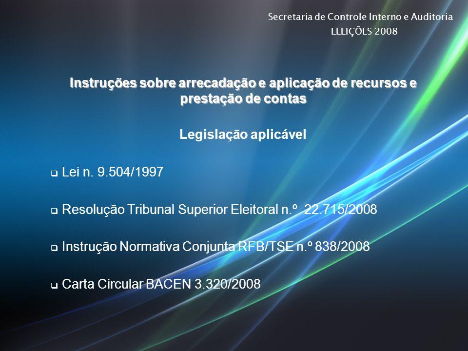 Secretaria de Controle Interno e Auditoria ELEIÇÕES 2008 Instruções sobre arrecadação e aplicação de recursos e prestação de contas Legislação aplicáv