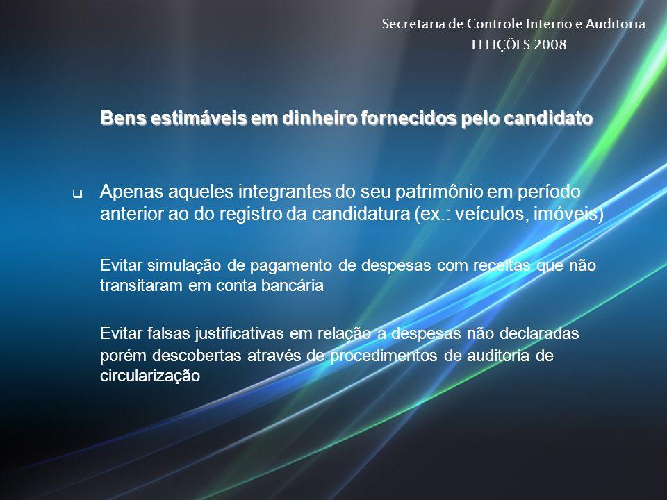 Secretaria de Controle Interno e Auditoria ELEIÇÕES 2008 Bens estimáveis em dinheiro fornecidos pelo candidato Apenas aqueles integrantes do seu patri