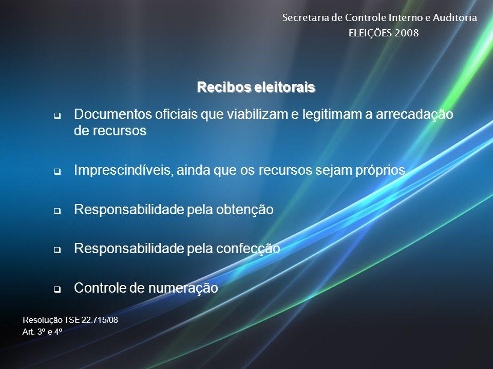 Secretaria de Controle Interno e Auditoria ELEIÇÕES 2008 Recibos eleitorais Documentos oficiais que viabilizam e legitimam a arrecadação de recursos I