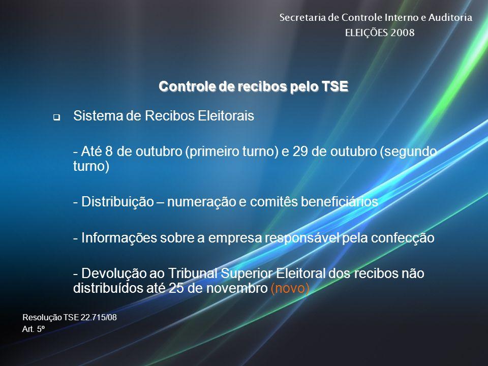 Secretaria de Controle Interno e Auditoria ELEIÇÕES 2008 Controle de recibos pelo TSE Sistema de Recibos Eleitorais - Até 8 de outubro (primeiro turno