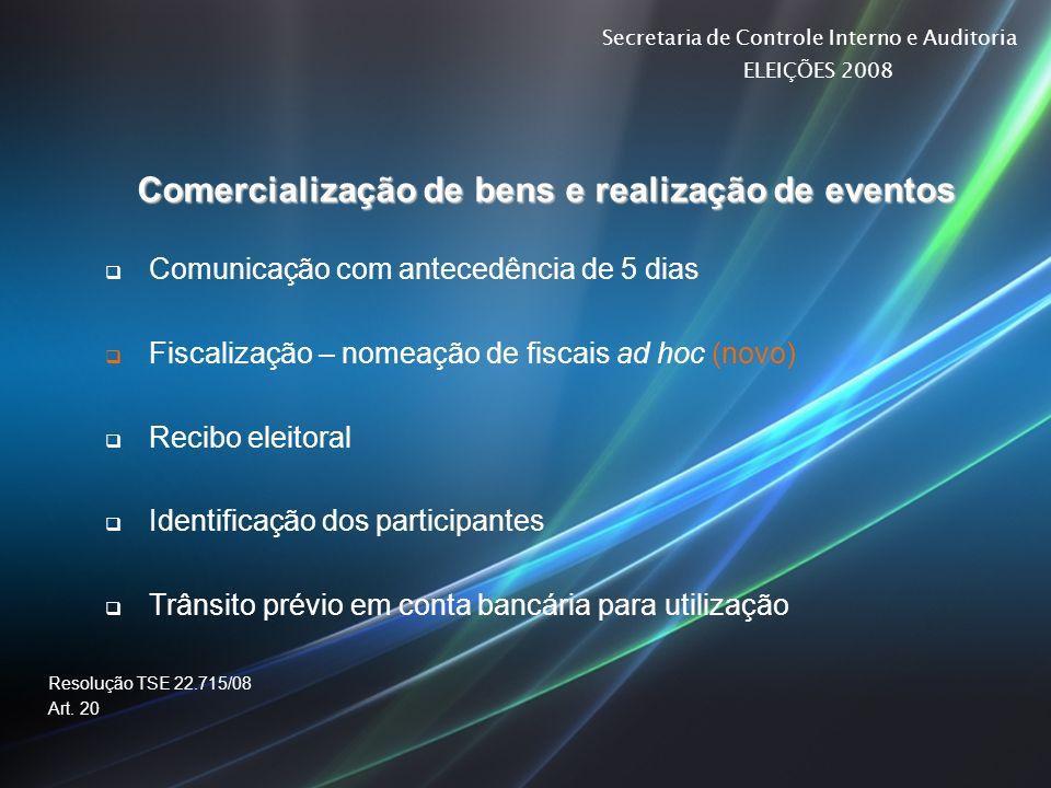 Secretaria de Controle Interno e Auditoria ELEIÇÕES 2008 Comercialização de bens e realização de eventos Comunicação com antecedência de 5 dias Fiscal