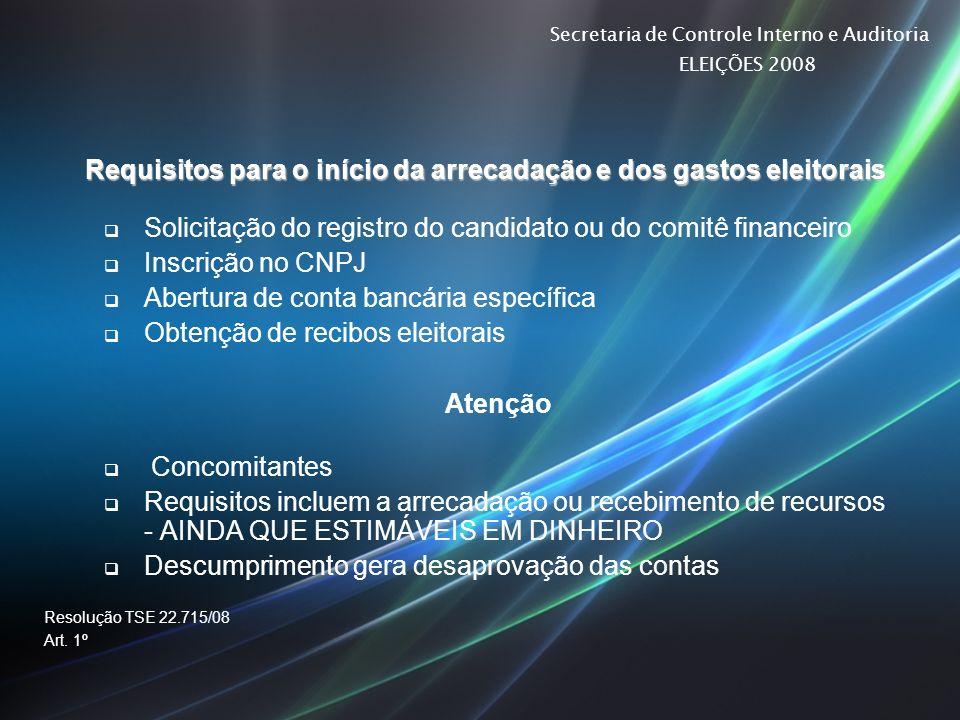 Secretaria de Controle Interno e Auditoria ELEIÇÕES 2008 Requisitos para o início da arrecadação e dos gastos eleitorais Solicitação do registro do ca