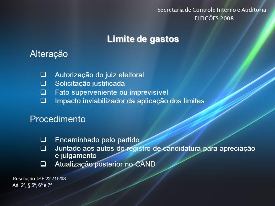 Secretaria de Controle Interno e Auditoria ELEIÇÕES 2008 Limite de gastos Alteração Autorização do juiz eleitoral Solicitação justificada Fato superve