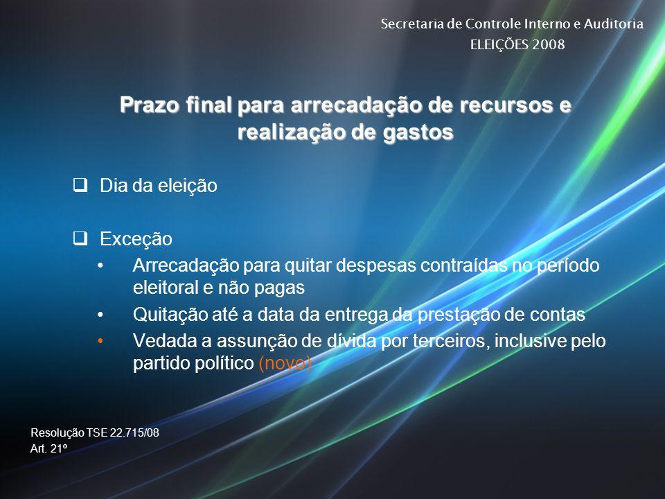 Secretaria de Controle Interno e Auditoria ELEIÇÕES 2008 Prazo final para arrecadação de recursos e realização de gastos Dia da eleição Exceção Arreca
