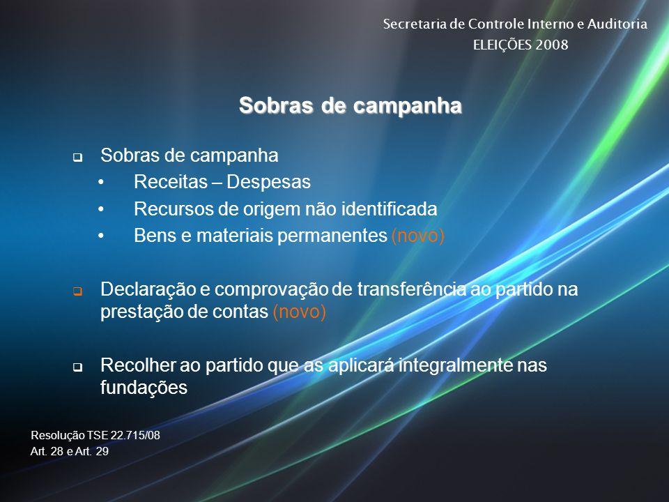 Secretaria de Controle Interno e Auditoria ELEIÇÕES 2008 Sobras de campanha Receitas – Despesas Recursos de origem não identificada Bens e materiais p