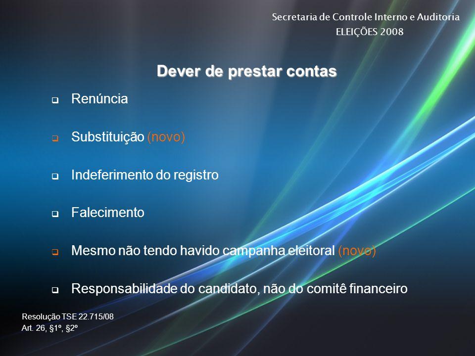 Secretaria de Controle Interno e Auditoria ELEIÇÕES 2008 Dever de prestar contas Renúncia Substituição (novo) Indeferimento do registro Falecimento Me