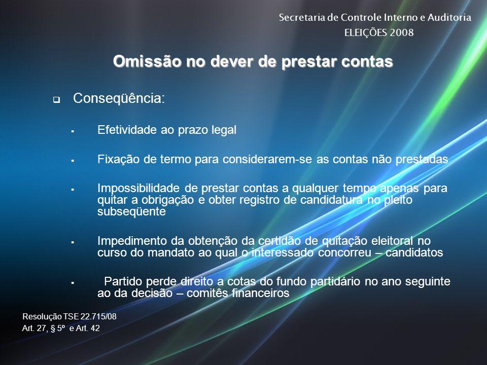 Secretaria de Controle Interno e Auditoria ELEIÇÕES 2008 Omissão no dever de prestar contas Conseqüência: Efetividade ao prazo legal Fixação de termo