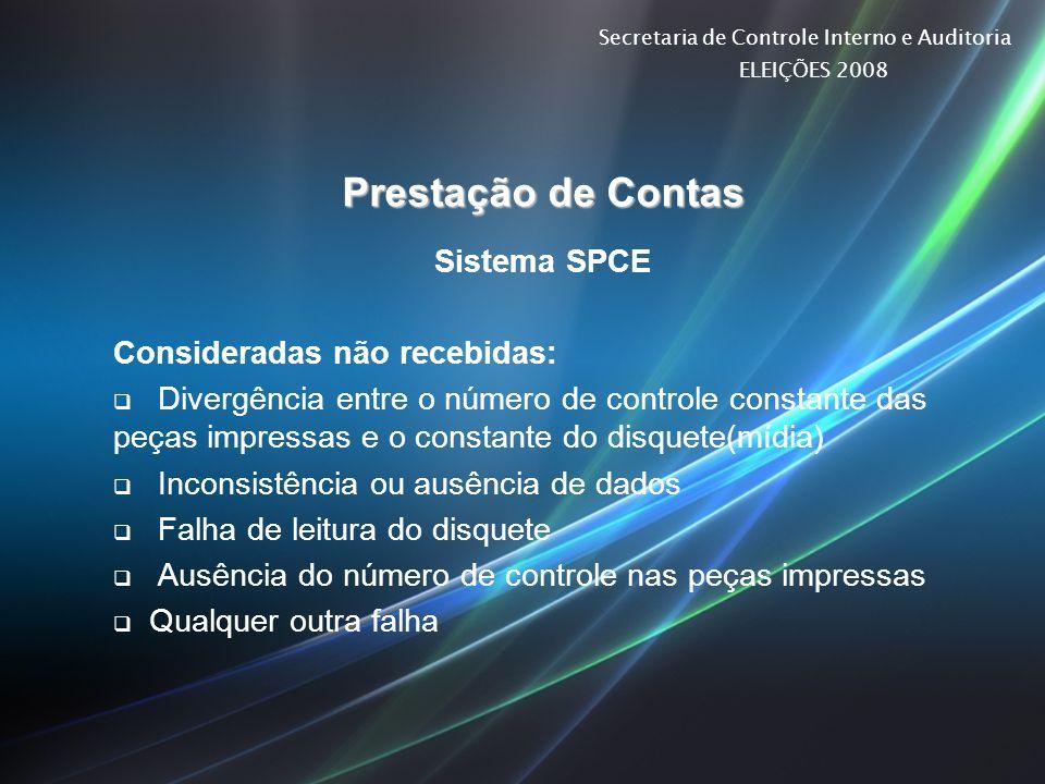 Secretaria de Controle Interno e Auditoria ELEIÇÕES 2008 Prestação de Contas Sistema SPCE Consideradas não recebidas: Divergência entre o número de co
