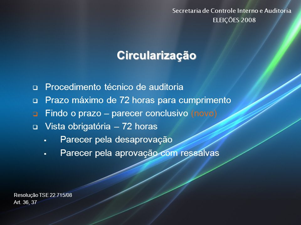 Secretaria de Controle Interno e Auditoria ELEIÇÕES 2008 Circularização Procedimento técnico de auditoria Prazo máximo de 72 horas para cumprimento Fi