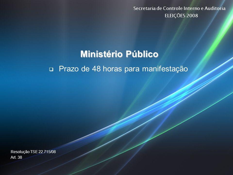 Secretaria de Controle Interno e Auditoria ELEIÇÕES 2008 Ministério Público Prazo de 48 horas para manifestação Resolução TSE 22.715/08 Art. 38