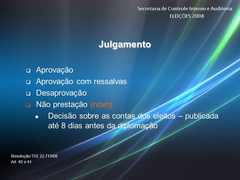 Secretaria de Controle Interno e Auditoria ELEIÇÕES 2008 Julgamento Aprovação Aprovação com ressalvas Desaprovação Não prestação (novo) Decisão sobre
