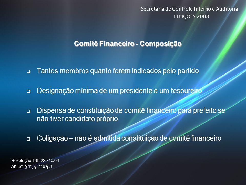 Secretaria de Controle Interno e Auditoria ELEIÇÕES 2008 Comitê Financeiro - Composição Tantos membros quanto forem indicados pelo partido Designação