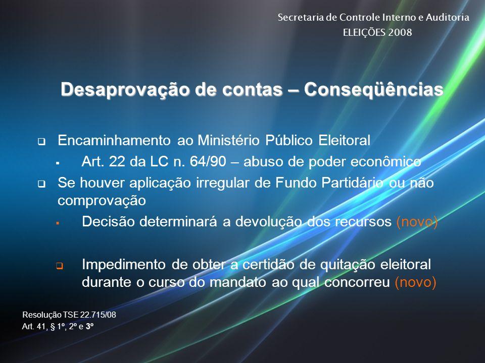 Secretaria de Controle Interno e Auditoria ELEIÇÕES 2008 Desaprovação de contas – Conseqüências Encaminhamento ao Ministério Público Eleitoral Art. 22