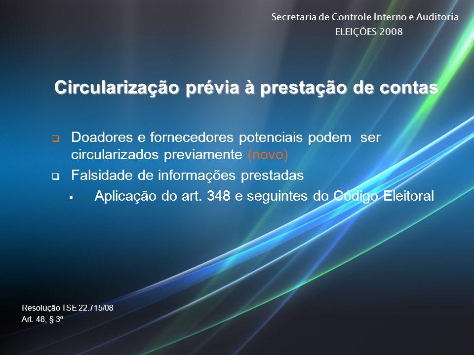 Secretaria de Controle Interno e Auditoria ELEIÇÕES 2008 Circularização prévia à prestação de contas Doadores e fornecedores potenciais podem ser circ