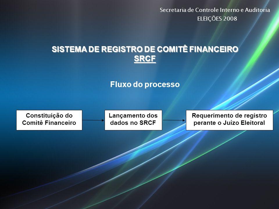 Secretaria de Controle Interno e Auditoria ELEIÇÕES 2008 SISTEMA DE REGISTRO DE COMITÊ FINANCEIRO SRCF Fluxo do processo Constituição do Comitê Financ