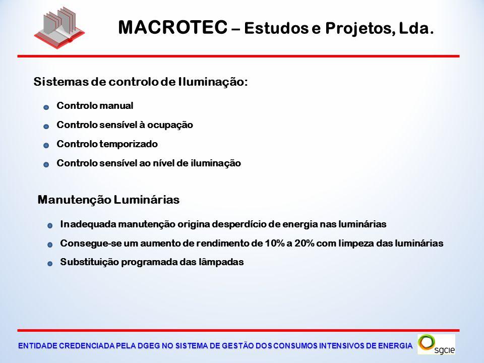 MACROTEC – Estudos e Projetos, Lda. ENTIDADE CREDENCIADA PELA DGEG NO SISTEMA DE GESTÃO DOS CONSUMOS INTENSIVOS DE ENERGIA Iluminação, Quadros Eléctri