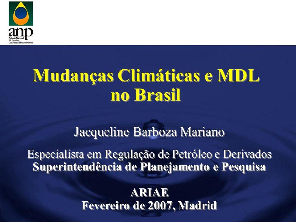Mudanças Climáticas e MDL no Brasil Mudanças Climáticas e MDL no Brasil Jacqueline Barboza Mariano Especialista em Regulação de Petróleo e Derivados S