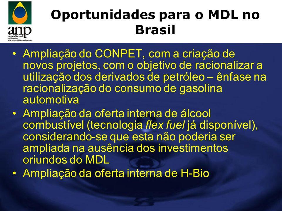 Oportunidades para o MDL no Brasil Ampliação do CONPET, com a criação de novos projetos, com o objetivo de racionalizar a utilização dos derivados de