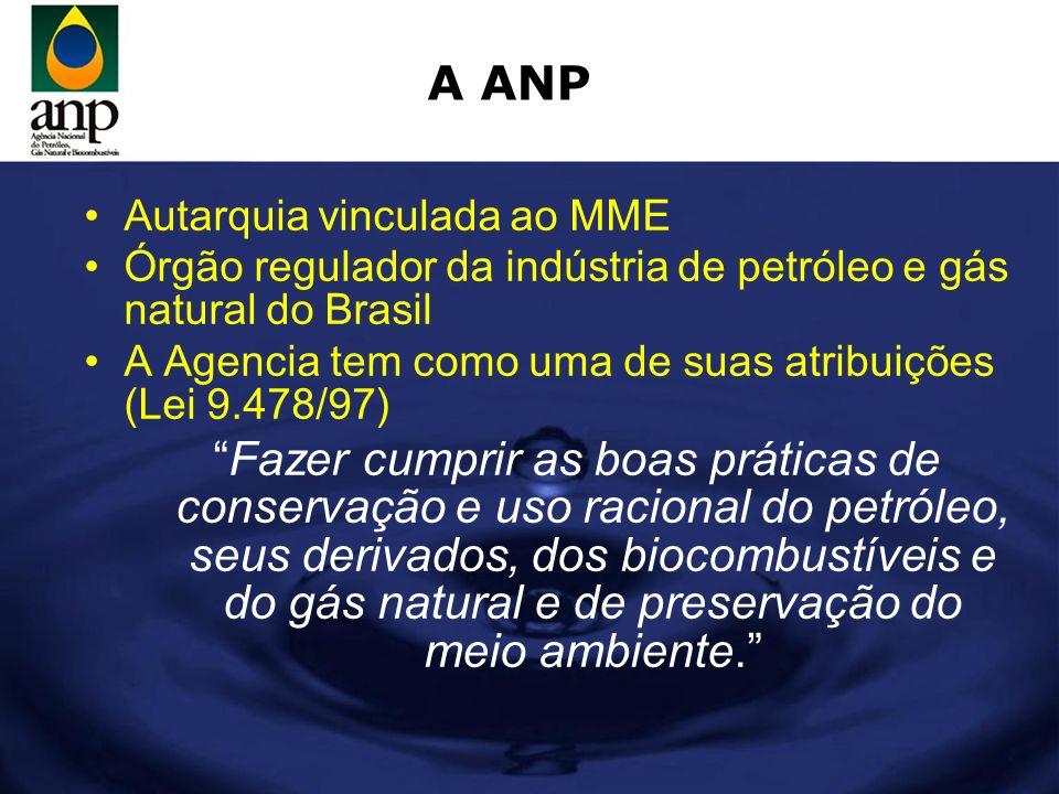 A ANP Autarquia vinculada ao MME Órgão regulador da indústria de petróleo e gás natural do Brasil A Agencia tem como uma de suas atribuições (Lei 9.47