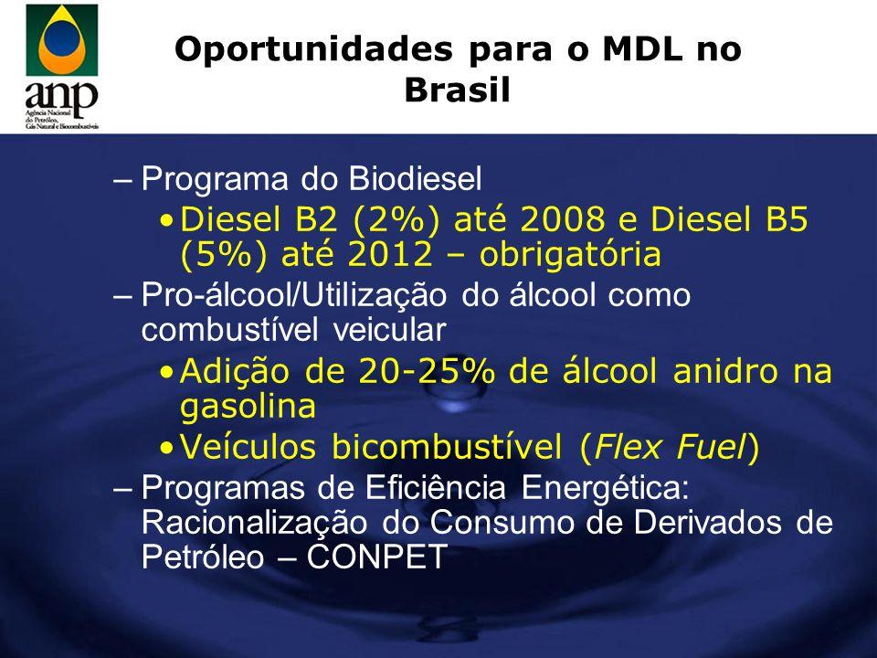Oportunidades para o MDL no Brasil –Programa do Biodiesel Diesel B2 (2%) até 2008 e Diesel B5 (5%) até 2012 – obrigatória –Pro-álcool/Utilização do ál